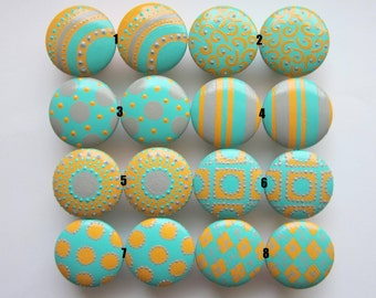 Set of 4-Light Orange-Aqua-Gray-Drawer Knobs-Mix and Match-You choose which designs