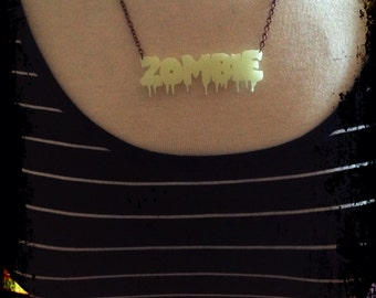 Glow in the Dark ZOMBIE necklace