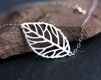 Sterling Silver Sideways OR Center Leaf Necklace-Beautiful,Simple,Everyday Jewelry,Handmade, Gift under 25,Fall Fashion,Fall jewelry,Autumun