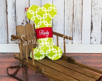 PERSONALIZED DOG STOCKING, Dog Christmas Stocking, Embroidered With Your Pet's Name, Choose Your Fabric, Puppy Stocking