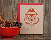 Christmas Letterpress Holiday Card - Santa Owl Mustache kraft box set