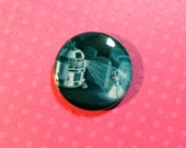 "Help Us Master Gracey 1"" Pinback Button - R2D2 and Haunted Mansion Attic Bride in Haunted Mansion Graveyard"