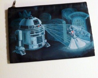 Help Us Master Gracey, You're Our Only Hope - R2D2 Haunted Mansion Mash-up Cosmetic Bag
