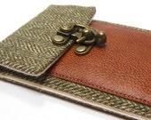 iPhone 5 / 6 / 6 Plus wallet  - green herringbone