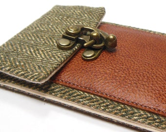 iPhone 5 / 6 / 6 Plus wallet  - green herringbone