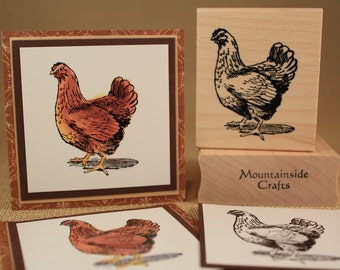 CHICKEN rubber stamp  Old Hen Poultry Farm Chicken Barnyard Country Stamps (22-33)