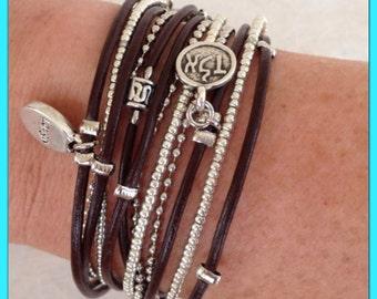 Wrap Bracelet - Wrap Bracelets for Women - Infinity Wrap Bracelet - Brown Leather Wrap Bracelet - Best Friend Gift - Choose FOUR Charms
