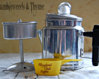 Vintage stove top travel size coffee pot with measuring scoop
