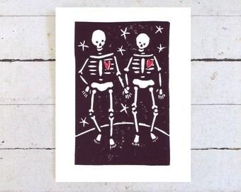 Skeleton Card, Hand Printed