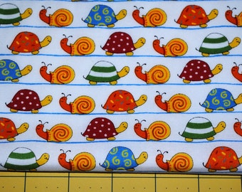 Fat Quarter Cute, Whimsical HTF Snails and Turtles on White Background