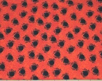 Fat Quarter Cute Little Spiders on Orange Halloween Fabric