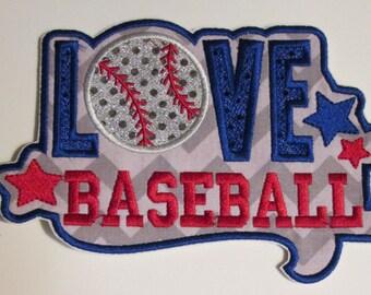Iron On Applique - LOVE Baseball