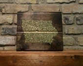 """Glitter State Silhouette -  Wood Wall Art - 10""""x12"""" - Dark Walnut Colored Stain - Iowa - custom color and state available"""