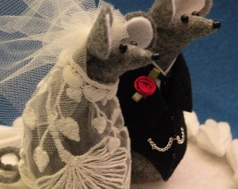 Gray Felt Mice Wedding Cake Topper decoration  soft sculpture