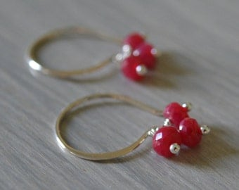 Ruby and Sterling Earrings July Birthstone
