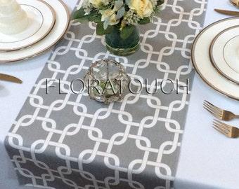Gray and White Gotcha Table Runner Wedding Table Runner