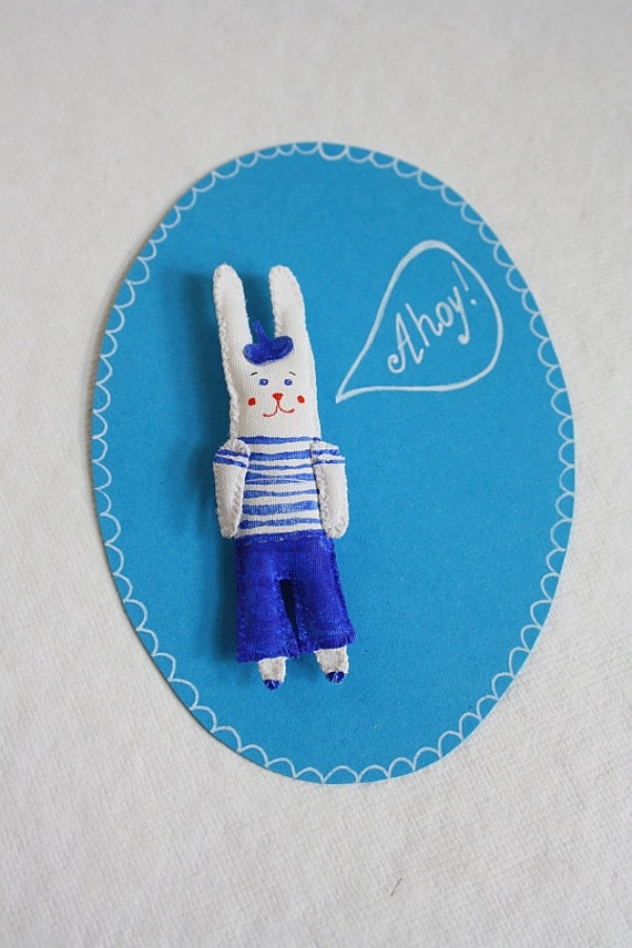 "SALE! Hand painted Rabbit Brooch/ Pendant ""Mini Bunny Friend"". Unique gift. 3D patch."