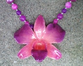 REAL Rasberry Pink, Radiant Orchid ORCHID and Jade, Agate and Pearls Sterling Necklace