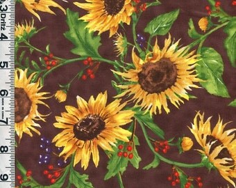 Fabric Clothworks Autumn Splendor realistic SUNFLOWERS and berries on brown  Fall colors Autumn Harvest