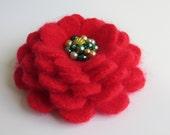 Christmas Cheer - Flower Brooch Pin from Reclaimed Felted Angora - Christmas Secret Santa