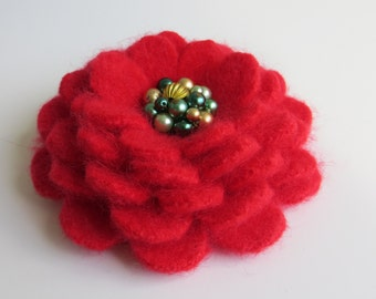 Christmas Cheer - Flower Brooch Pin from Reclaimed Felted Angora - Christmas Secret Santa