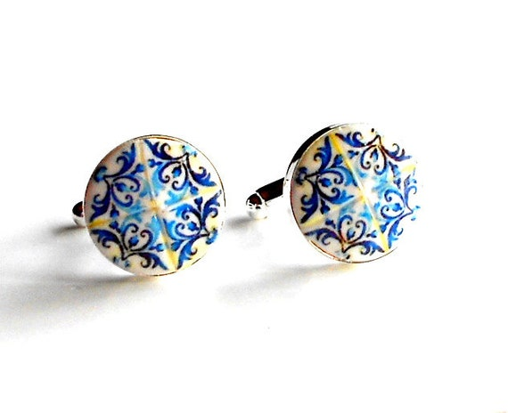 Cuff Links Portugal Antique Azulejo Tile Replica Blue  - Church of Mercy PORTO Built in 1590 - Great GiFT - Gift Box Included!