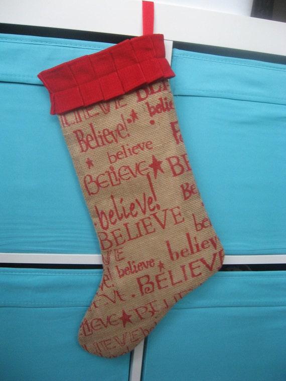 Items similar to believe burlap christmas stocking on etsy