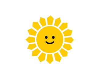 Smiling Sun wall decal - sunshine decal - sun wall decal - nursery wall decor - baby wall decal - sunny - sun with smile - smiling sun