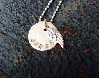 Sterling Silver Hand Stamped Name Remembrance Angel Wing Necklace