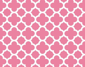 FALL SALE - 1 1/4 Yards - Medium Quatrefoil Cotton in Hot Pink - C435-70 Hot Pink - Riley Blake Designs