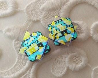 Dichroic Glass Post Earrings -Dichroic Stud Earrings - Friendship Jewelry - Green Yellow Earrings X1208