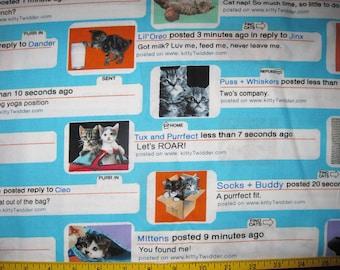 Twitter Kittens Cats Design Fabric Yardage Destash 2 yards