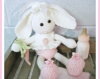 Bunny and Clothes 14 Inch Doll  Pattern   Knitted
