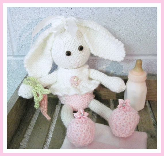 Bunny and Clothes 14 Inch Doll Pattern Knitted by LaurelArts