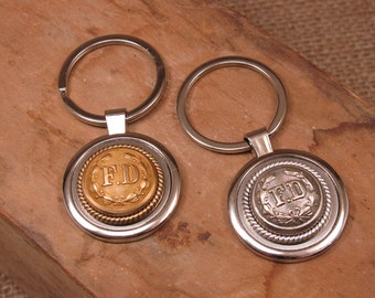 Firefighter Jewelry - Vintage Brass FD Fireman Uniform Coat Button Silver Key Ring - Remembering 911