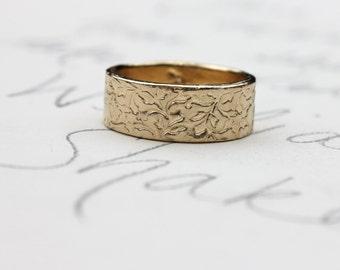 wide 14k yellow gold wedding band . bohemian wedding band ring . solid 14 k gold wedding band ring by peaces of indigo