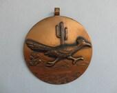 VINTAGE solid copper ROADRUNNER PENDANT