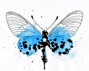 Blue Butterfly Art Butterflies Butterfly Illustration Blue Butterfly Art Print