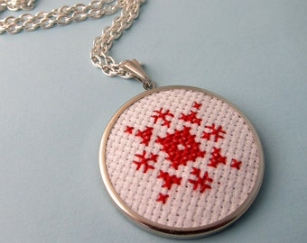Embroidered Snowflake Necklace - Silver, Red, White