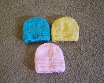 Hand Knitted -  Pale Pink, Bright Blue or Yellow Baby Hat