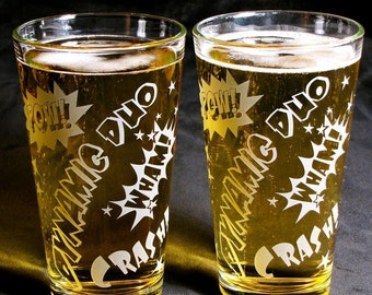 2 Comic Book Art Beer Glasses, Etched Glass Gift for Bride & Groom, Couple, Wedding Party