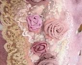 Custom order for Nina Victorian roses shabby chic merino wool