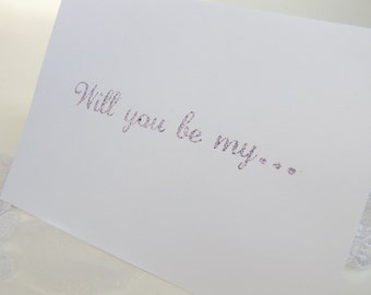 Will you be my Flower Girl Card with white envelope-Handstamped- Inside stamped with Flower Girl