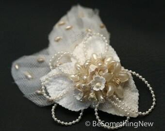 ON SALE Wedding Hair Clip Made From An Upcycled Vintage Headpiece Vintage Wax Flower Headpiece Vintage Hair Accessory Bridal Hair Clip