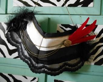 Valentine's Burlesque Cirque Black White Red bib necklace