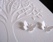White Embossed Tree 3D Mini Butterflies Card on White Linen. Engagement. Wedding. Anniversary. Memorial. 5x7 inches. Made to Order - aboundingtreasures