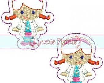 Cutie Doctor Girl FELT CLIPPIES felties 4x4 Machine Embroidery Design