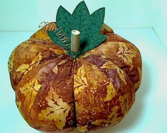 Size 12 | Rusty Orange Batik Fabric Pumpkin | Thanksgiving Decor | Holidays | Fall Decor | Pumpkin Centerpiece | Kitchen Decor | #6