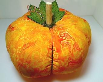Size 12 | Yellow Orange Batik Fabric Pumpkin | Thanksgiving Decor | Kitchen | Autumn | Fall Decor | Table Centerpiece | Handmade Gift | # 10