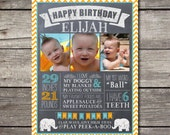 PRINTABLE Customized Chalkboard Photo Birthday Sign or Baby Announcement